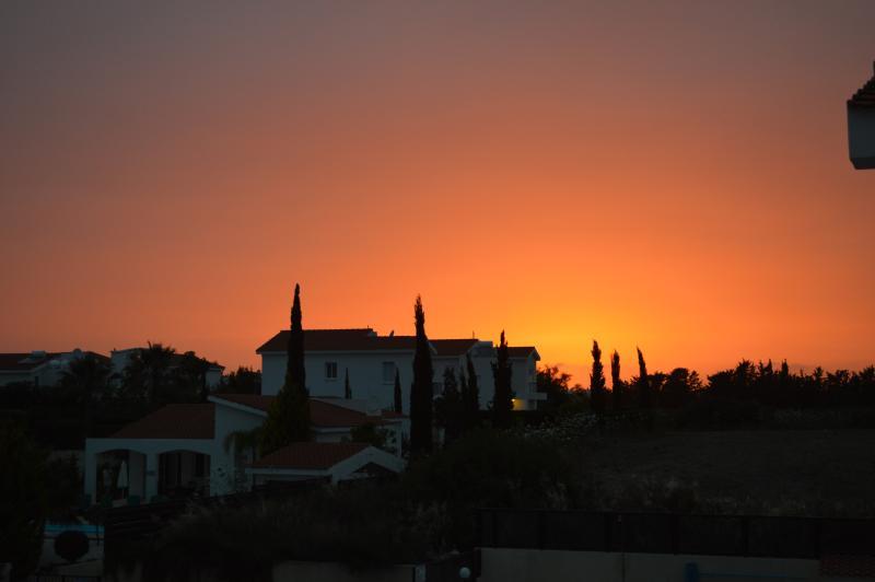 sunset at villa corallia paphos